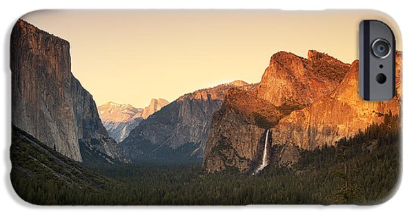 Cathedral Rock iPhone Cases - Yosemite Valley Sunset iPhone Case by Jane Rix