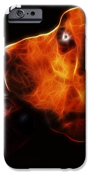 You Ain't Nothing But A Hound Dog - Dark - Electric - With Text iPhone Case by Wingsdomain Art and Photography