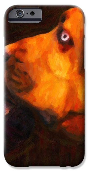 You Ain't Nothing But A Hound Dog - Dark - Painterly iPhone Case by Wingsdomain Art and Photography