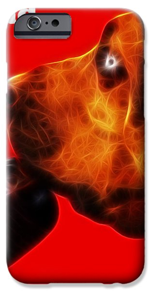 You Ain't Nothing But A Hound Dog - Red - Electric - With Text iPhone Case by Wingsdomain Art and Photography