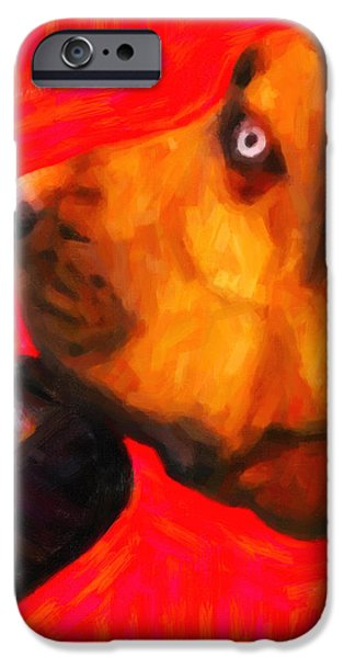 You Ain't Nothing But A Hound Dog - Red - Painterly iPhone Case by Wingsdomain Art and Photography