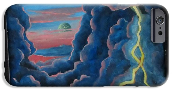 Outer Space Paintings iPhone Cases - You are Entering a Dimension of Space and Time  iPhone Case by John Malone