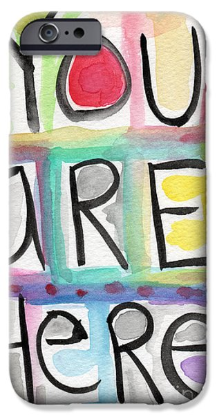 Card Mixed Media iPhone Cases - You Are Here  iPhone Case by Linda Woods