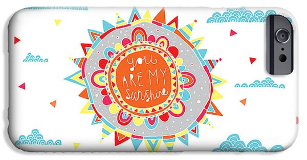 Graphic Design iPhone Cases - You Are My Sunshine iPhone Case by Susan Claire