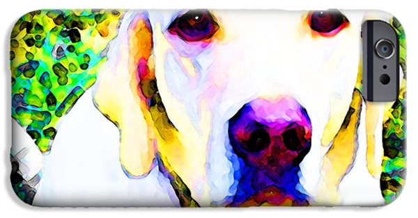Dog iPhone Cases - You Are My World - Yellow Lab Art iPhone Case by Sharon Cummings
