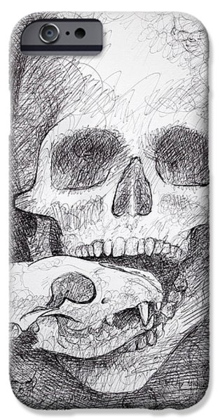 Creepy Drawings iPhone Cases - You Are What You Eat skull drawing iPhone Case by Adam Long