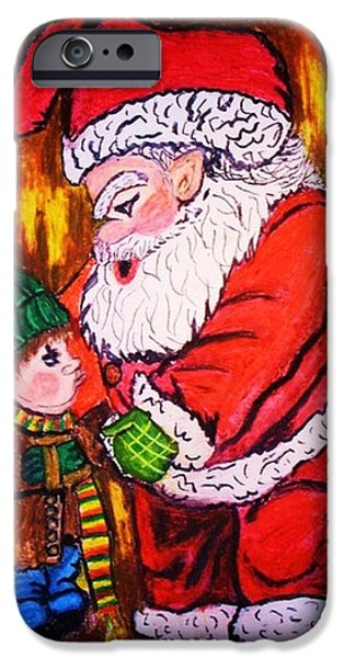 Santa Pastels iPhone Cases - You Better Not Pout iPhone Case by Jo-Ann Hayden