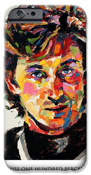 Wayne Gretzky iPhone Cases - You miss 100 percent of the shots you dont take Wayne Gretzky iPhone Case by Derek Russell