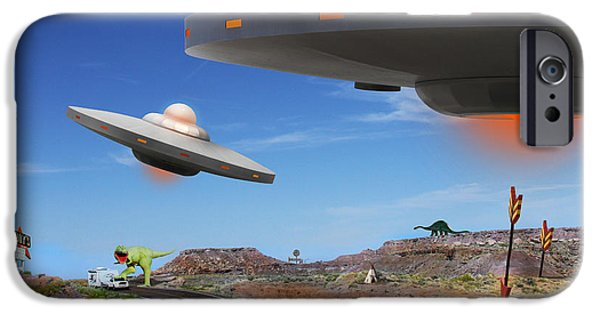 Ufo iPhone Cases - You Never Know What You will See On Route 66 2 iPhone Case by Mike McGlothlen