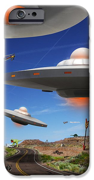 Ufo iPhone Cases - You Never Know What You will See On Route 66 iPhone Case by Mike McGlothlen
