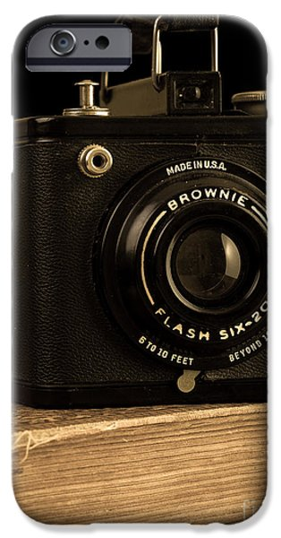 Straps iPhone Cases - You push the button we do the rest Kodak Brownie Vintage Camera iPhone Case by Edward Fielding