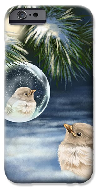 Snowy Night iPhone Cases - Young bird iPhone Case by Veronica Minozzi
