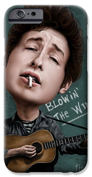 Caricature Digital Art iPhone Cases - Young Bob Dylan iPhone Case by Andre Koekemoer