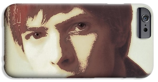 Bowie iPhone Cases - Young Bowie Pop Art iPhone Case by Daniel Hagerman