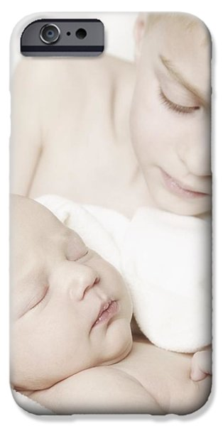 Innocence iPhone Cases - Young Boy Holding Baby iPhone Case by Don Hammond