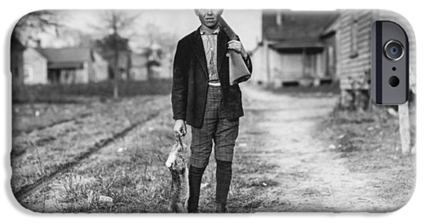 Worker iPhone Cases - Young boy hunting rabbits iPhone Case by Aged Pixel