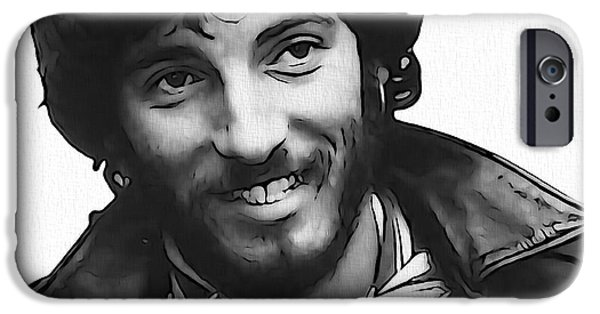 E Street Band iPhone Cases - Young Bruce Springsteen iPhone Case by Dan Sproul