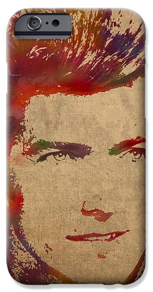 Young Mixed Media iPhone Cases - Young Clint Eastwood Actor Watercolor Portrait On Worn Parchment iPhone Case by Design Turnpike