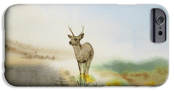 Mist Paintings iPhone Cases - Young Deer On The Foggy Road iPhone Case by Irina Sztukowski