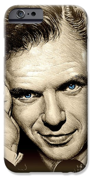 Smiling Mixed Media iPhone Cases - Young Frank blue eyes iPhone Case by Andrew Read