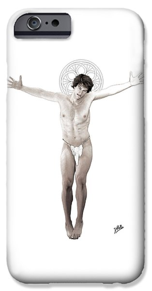 Crucifix Drawings iPhone Cases - Young freethinker crucified iPhone Case by Joaquin Abella