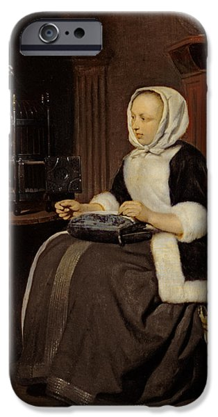 Mending iPhone Cases - Young Girl At Work iPhone Case by Gabriel Metsu