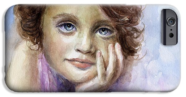 Child iPhone Cases - Young girl child watercolor portrait  iPhone Case by Svetlana Novikova