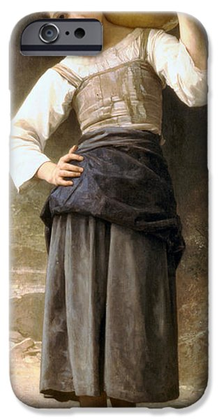 Young Girl Going to the Fountain iPhone Case by William Bouguereau
