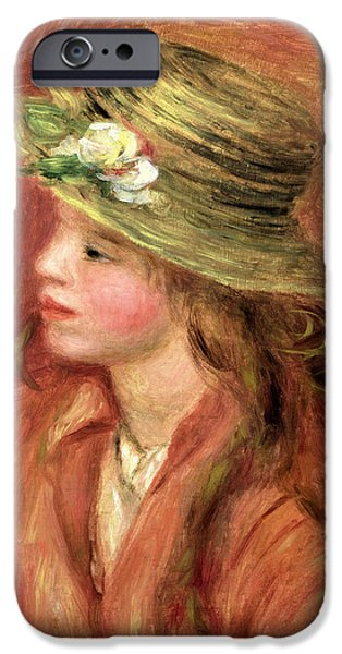 Impressionist Photographs iPhone Cases - Young Girl In A Straw Hat, C.1908 Oil On Canvas iPhone Case by Pierre Auguste Renoir