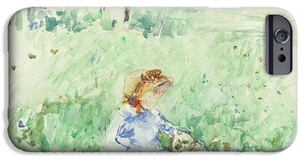 Sit-ins Paintings iPhone Cases - Young Girl Seated on the Lawn iPhone Case by Berthe Morisot