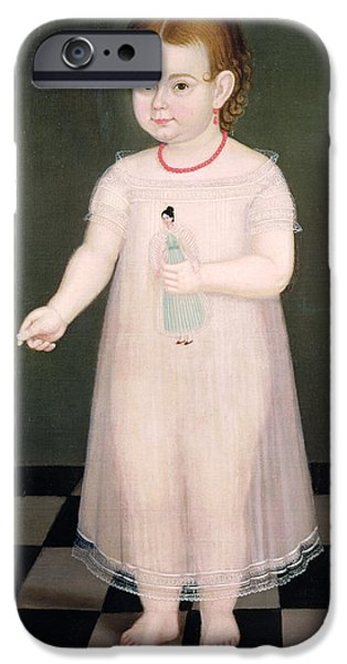 Enfants iPhone Cases - Young Girl With A Doll, 1838 Oil On Canvas iPhone Case by Jose Maria Estrada