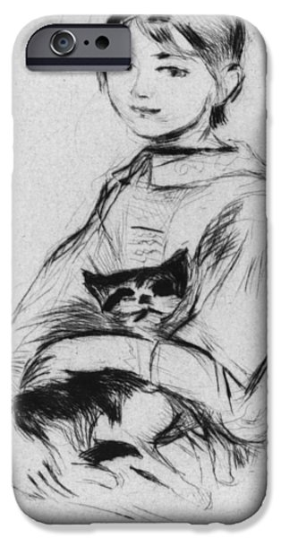 For Children Pastels iPhone Cases - Young girl with cat iPhone Case by Berthe Morisot