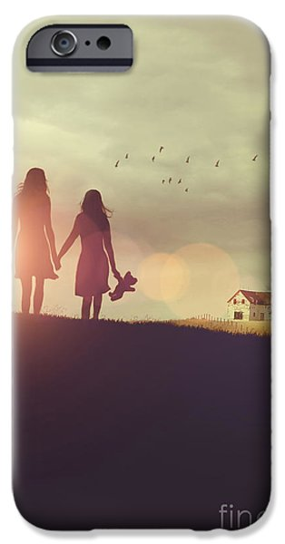 Missing Child iPhone Cases - Young girls in silhouette walking in grass towards farm iPhone Case by Sandra Cunningham