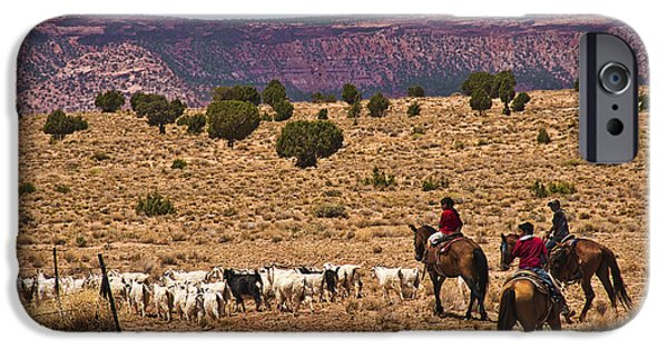 Slickrock iPhone Cases - Young Goat Herders iPhone Case by Priscilla Burgers