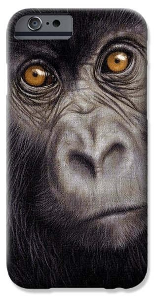 Young Paintings iPhone Cases - Young Gorilla Painting iPhone Case by Rachel Stribbling
