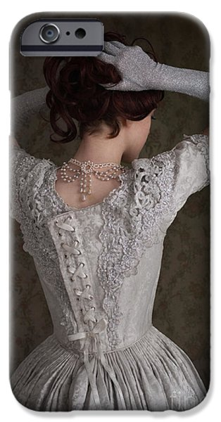 Glitter Glove iPhone Cases - Young Historical Woman Doing Her Hair iPhone Case by Lee Avison