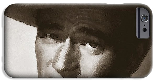 True Grit iPhone Cases - Young John Wayne Painting Traditional iPhone Case by Tony Rubino