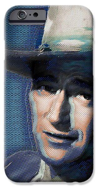 True Grit iPhone Cases - Young John Wayne Pop 2 iPhone Case by Tony Rubino