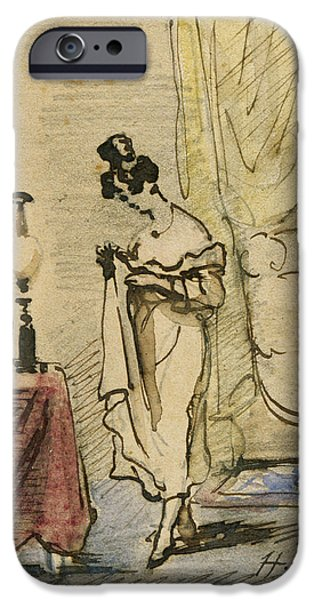 Interior Scene iPhone Cases - Young Lady At Home Ink & Wc On Paper 2jeune Fille Dans Un Interieur; Intimite; iPhone Case by Henri Bonaventure Monnier