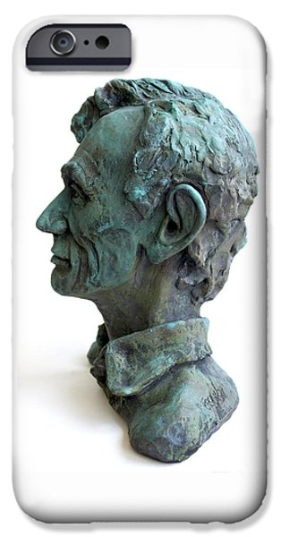 President Ceramics iPhone Cases - Young Lincoln -sculpture iPhone Case by Derrick Higgins