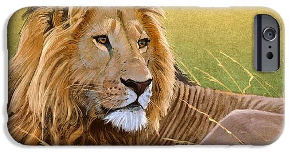 Lion Digital Art iPhone Cases - Young Lion iPhone Case by Aaron Blaise