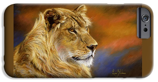 Young Paintings iPhone Cases - Young Lion iPhone Case by Lucie Bilodeau