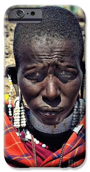 Recently Sold -  - East Village iPhone Cases - Portrait of Young Maasai Woman at Ngorongoro Conservation Tanzania iPhone Case by Nasser Studios