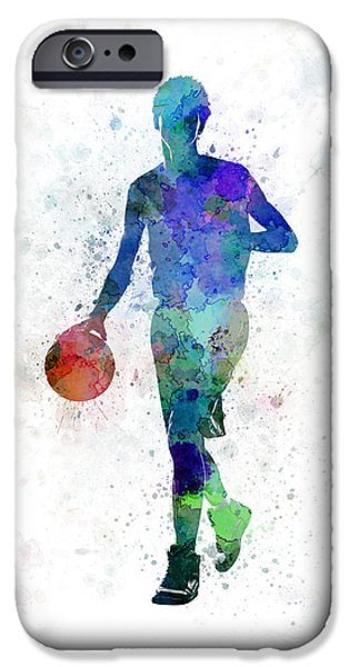 Basketball Paintings iPhone Cases - Young Man Basketball Player Dribbling  iPhone Case by Pablo Romero