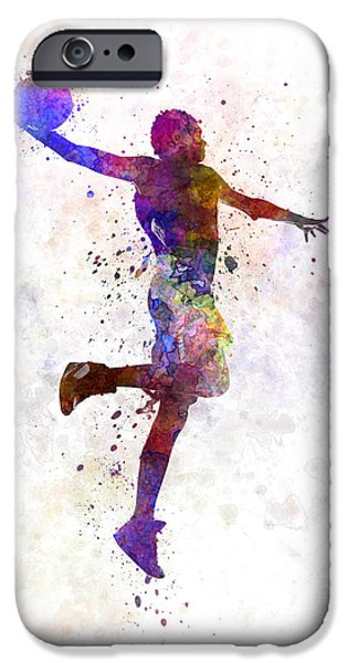 Basketball Paintings iPhone Cases - Young Man Basketball Player One Hand Slam Dunk iPhone Case by Pablo Romero