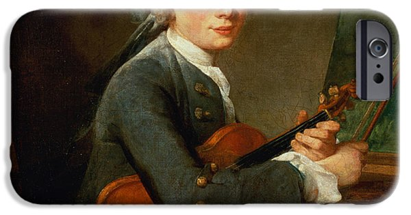 Sheets iPhone Cases - Young Man With A Violin, Or Portrait Of Charles Theodose Godefroy 1718-96 C.1738 Oil On Canvas iPhone Case by Jean-Baptiste Simeon Chardin