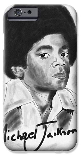 Kenal Louis iPhone Cases - Young Michael Jackson iPhone Case by Kenal Louis