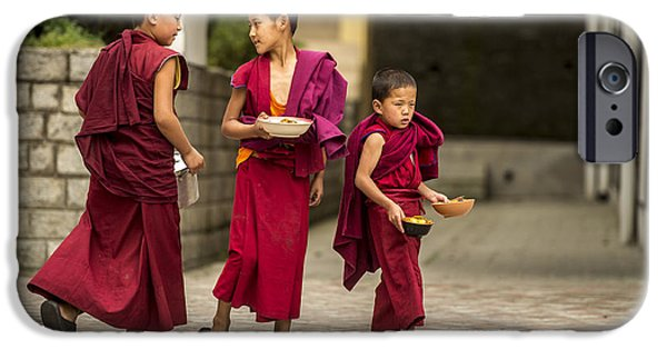 Tibetan Buddhism iPhone Cases - Young Monks iPhone Case by Abhishek Singh