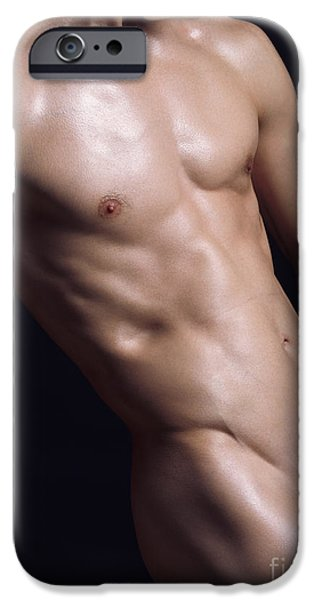 Oil Portrait Photographs iPhone Cases - Young nude man bare torso iPhone Case by Oleksiy Maksymenko