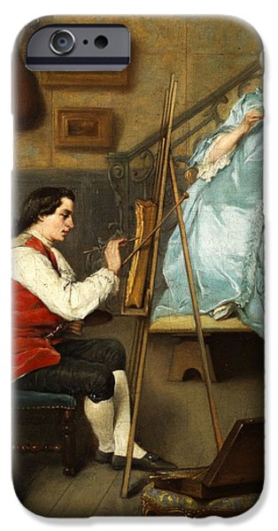 Woman In A Dress iPhone Cases - Young painter portraiting a young woman in a blue silk dress iPhone Case by Eugene Fichel
